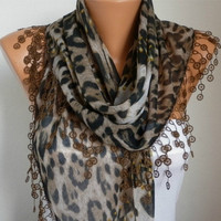 Summer Scarf Shawl  -  Cotton Weddings Scarves -  Cowl  with  Lace Edge - Brown Leopard
