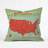 Explore America Vintage-Inspired Pillow Cover