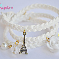 Triple Wrap Suede Braided White Charm Bracelet - Handmade by PinkSugArt