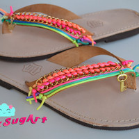 Greek Handmade Leather Flip Flops with Neon Satin Cords and Gold Chain - Handmade by PinkSugArt
