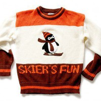 "Shop Now! Ugly Sweaters: ""Skier's Fun"" Vintage 70s Skiing Penguin Acrylic Tacky Ugly Sweater Women's Size Medium (M) $40 - The Ugly Sweater Shop"