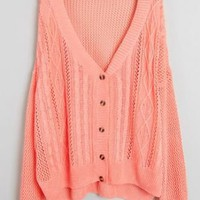 Pink Long Sleeve Hollow Rhombus Embroidery Sweater - Sheinside.com