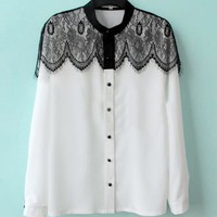 White Floral Lace Cape Collar Long Sleeve Chiffon Shirt - Sheinside.com
