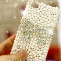 iphone 4 case - iphone 5 case - Pearl iphone 4 case - Pearl iphone 5 case - Bow iphone 4 case - Bling iPhone 4/5 case - Cute iphone 4s case