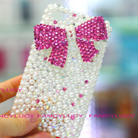 iphone 5 case - Cute iPhone 5 case - Bling iPhone 5 case - Pearl iPhone 5 case - Crystal bow iphone 5 case - Best iphone 5 case