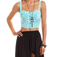 Abstract Button-Down Crop Top: Charlotte Russe
