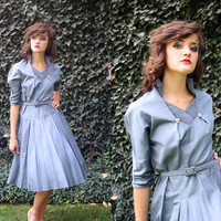 vintage 1950s 60s slate blue dress / silk by thewitcheryvintage