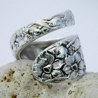 Spoon Ring  - Antique Silverware Jewelry- Narcissus 1935