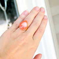 Peach Druzy Ring - Drusy Orange Agate Tangerine Salmon Hammered Gold OOAK