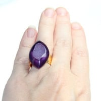Royal Purple Druzy Ring - Violet Plum Agate Drusy Hammered Gold Statement Ring