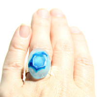 Turquoise Blue Druzy Ring - Drusy Royal Blue Olympian Blue Sky Agate Cobalt Statement Ring