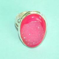 Genuine Pink Drusy Druzy Ring 15x23mm Oval Sterling Silver 925 Band Size 6 3/4 Take 20% Off
