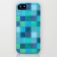 Blue Squared iPhone Case by gretzky | Society6