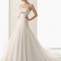 [$230.02 ] Fabulous Satin & Organza Satin A-Line Strapless  Neckline Wedding Dress  With  Beadings & Lace Appliques - Edressbridal.com