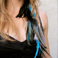 TWILIGHT Turquoise Black &amp; Grizzly Feather by fallingfeathers