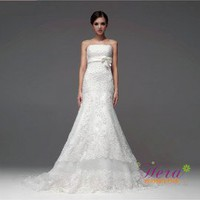 Wonderful A-Line strapless Lace Wedding Dress