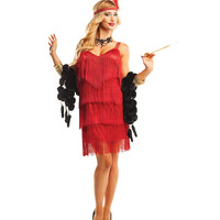 Red Hollywood Tiered Fringe Flapper Costume