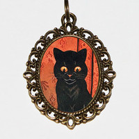 Black Cat Necklace, Cat Jewelry, Cats, Oval Pendant
