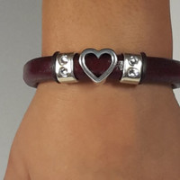 Burgundy Leather Bracelet with Silver Open Heart and Crystal accent sliders and a Silver Magnetic Clasp