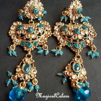 Ethnic artisan blue color gold plated glass by MagicalColors
