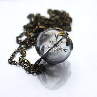 Real Dandelion Necklace Real Dandelion Seeds Make A Wish Large Bead Necklace Botanical  Glass Orb Globe Beadwork