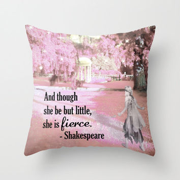 She is Fierce, Shakespeare Pillow, Feminist Gift, Pink Pillow, Fairy Pillow, Girl Gift, Valentines Gift, Throw Pillow, 16x16, 18x18, 20x20