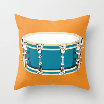 Drum - Orange Throw Pillow by Ornaart