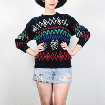 Vintage 80s Sweater New Wave Pullover 1980s Sweater Black Red Green Blue Nordic Sweater Cosby Sweater Mod Boyfriend Sweater Jumper S Small M