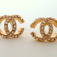 Chanel Crystal Gold Earring Studs -- Classic Double C Design Inspired By Coco Chanel