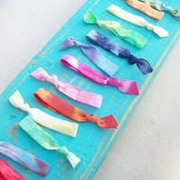 14 Tie Dye Rainbow Hair Ties by Lucky Girl