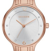 Women's Skagen 'Anita' Crystal Index Bracelet Watch, 30mm - Rose Gold/ Silver