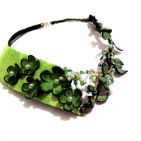 Statement  necklace Fashion unique floral leather necklace OOAK