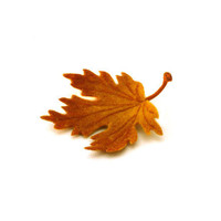 Felted brooch maple autumn leaf - ready to ship