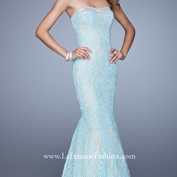 Floor Length Strapless Lace Dress by La Femme