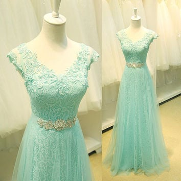 Light Green Elegant Lace V-neck A-line Beaded lace up Tulle Evening Dress Classic Full Length Bridesmaids Prom Gowns Custom Made