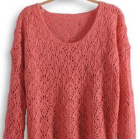 Round Neck Long Sleeve Pink Sweater  S002362