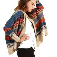 Fumblin' Foe Boxy Tribal Cardigan in Multi