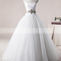 Fonina/wedding gown/bridal dress/custom made/all size/sweetheart neckline/lace up back/elegant