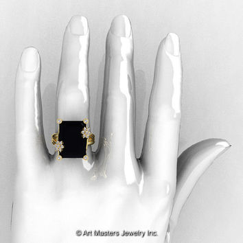 Art Masters Modern 10K Yellow Gold 15.0 Ct Black and White Diamond Fantasy Cocktail Ring R292-10KYGDBD