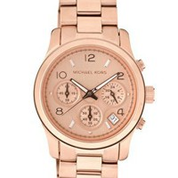 Michael Kors Rose Gold Plated Chronograph Watch at asos.com