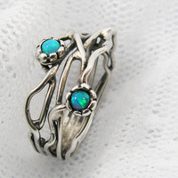 Sterling silver & Opals organic design ring sr9906 by MayaOr