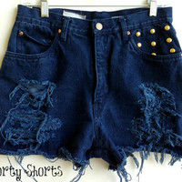 High Waisted Denim Shorts Distressed Studded Dark Wash Jean Shorts Size 6-7