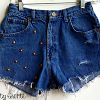 High Waisted Shorts Gold Studded Distressed Denim Jean Shorts Size 4-5
