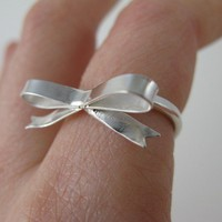 Ribbon Bow Ring Forget Me Knot in Sterling by LichenAndLychee
