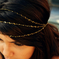 Chain Headpiece Headband Swirl Bronze Chain 3 Strand Bohemian Hipster Boho Hippie Bridal Statement Jewelry