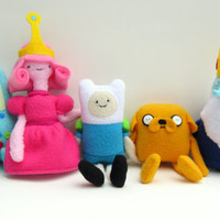 Adventure Time Plush Set: Finn, Jake, Princess Bubblegum, BMO, and Ice King