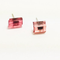 Raw Pink Tourmaline Earring Studs - Hypoallergenic Surgical Steel Posts