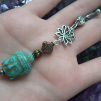 buddha lotus belly ring  buddah howlite turquoise  in Indie zen yoga belly dancer fantasy gypsy hippie morrocan boho and hipster style