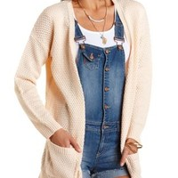 Oversized Open Cardigan Sweater by Charlotte Russe - Peach