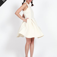 FAYE Pleated Cut-in Dress with Pockets (Cream)